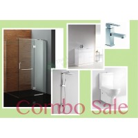 Bathroom Combo With Frameless Shower PVC cabinet 100% Water Proof