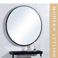 Bathroom Mirror for Wall with Black Metal Frame 700mm