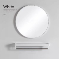 Bathroom Mirror for Wall with White Metal Frame 800mm
