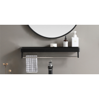 Bathroom Metal Wall Mirror Shelf Black Framed Rectangle 600mm