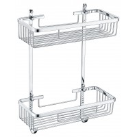 Chrome 2 Tier Double Shower Caddy Shelf Y107