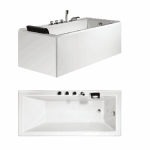 Bath Tub Carona Series 1600x750x550mm Acrylic Straight Single Square Ended