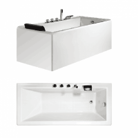 Bath Tub Carona Series 1600x750x550mm Acrylic Straight Single Square Ended