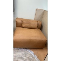 Camel Color Single Leather Sofa - Feather Filled