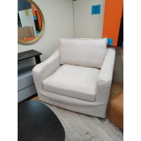 White Color Single Seater Cotton Linen Sofa - Feather Filled