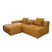 Camel Color Corner Leather Sofa - Feather Filled