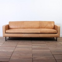 All-leather sofa 2200mm - 3.5 Seat Caramel Color