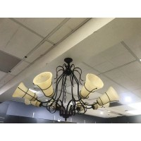 Decorative French Metal Uplighter Chandelier With Cream Frosted Shades