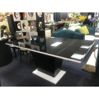 DINING TABLE - Gloss Painting Wooden Base  With Black Color Glass Top