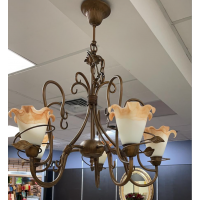 Decorative French Metal Uplighter Chandelier With Frosted Shades