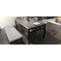 Bench Seat With Solid Oak Leg - Grey