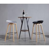 Metal Base Bar Table - Walnut Color