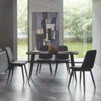 Metal Color Leg Dinnig Table 1400*800*760mm - Walnut Brown