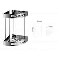 Bathroom Corner Double Shelf Basket - 304 Stainless Steel
