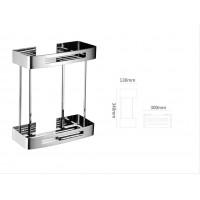 Bathroom Rectangle Double Shelf Basket - 304 Stainless Steel