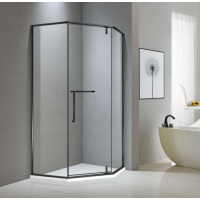 Shower Glass - Bay Series 2 Sides (900x900x1900mm) - Matt Black