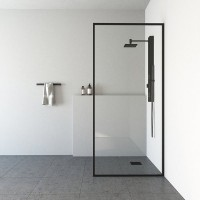 Shower Glass - Stream Series Swing Door (1170x1950mm) With Black Color Frame