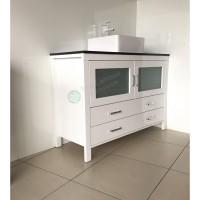Vanity - Dekkor Series 1200 Black Quartz Stone Counter Top Set