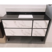 Vanity - Ava Series 1200mm - Black Marble Pattern Cabinet With Engineering Stone Top