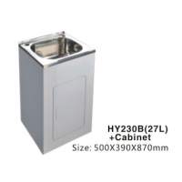 Laundry Tub 27L Stainless Steel Sink Cabinet Trough Adjustable 500x390x870mm