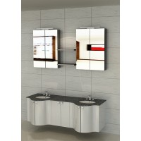 Vanity - Ellipse Series 1600mm Grey cabinet White Marble Top