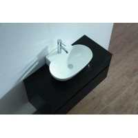 Vanity - Poli Series 1200 White Quartz Stone Counter Top Set - Oval Basin