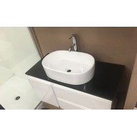 Vanity - Asron Series 900 Black Quartz Stone Counter Top Set