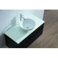 Vanity - Poli Series 1000 Black Quartz Stone Counter Top Set - Round Basin