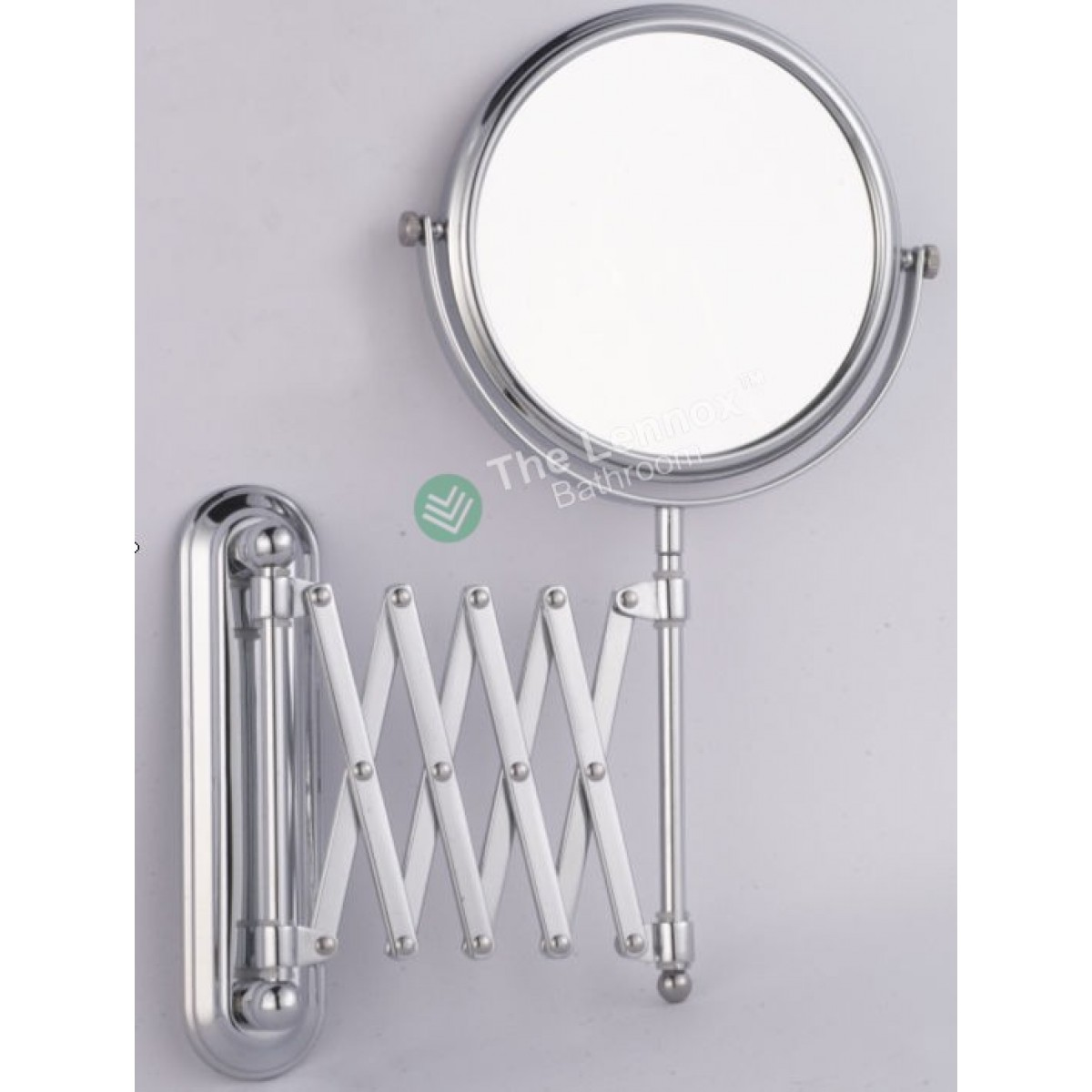 bathroom shave makeup mirror doubleside wall mounted extend arm chrome
