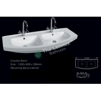 Ceramic Cabinet Basin - Round Series 1200  Double