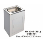 Laundry Tub 45L Stainless Steel Sink Cabinet Trough Adjustable 600x500x870mm