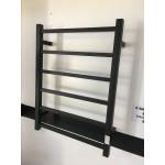 Heated Towel Rail 6 Bar Thick Square Black