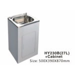 Laundry Tub HY230B  27L Stainless Steel Sink Cabinet Trough Adjustable 500x390x870mm