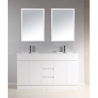 Vanity - Heron Series 1500mm White Cabinet With Double/Single  Sintered Stone Top