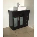 Vanity - Misty Series 900 Black Quartz Stone Counter Top Set