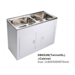 Laundry Tub Twins45L Stainless Steel Sink Cabinet Trough Adjustable 1160x500x870mm