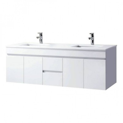 Vanity Wall hung - Asron PVC Series 1500mm White 100% Water Proof + Single Or Double Sintered Stone Top