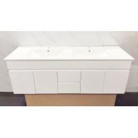Vanity - Asron Series 1500mm White with Ceramic Single Or Double ceramic Basin