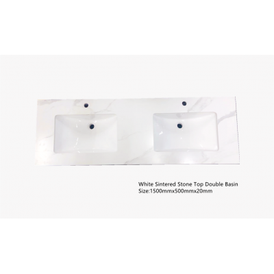 Vanity Top - 1500mm White Sintered Stone Top (Double basin)