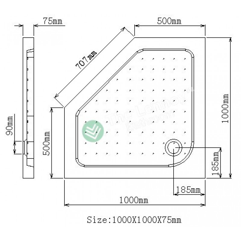 Shower Tray - Angle Series 1000X1000mm Corner