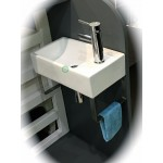 Wall Hung Small Cloakroom Basin Set Inc Tap,Plug,Bottle Trap And Towel Loop
