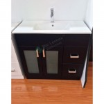 Vanity - Misty Series 900F Black with Glass Doors